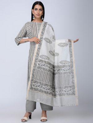 Print Charm - Block Printed - Grey -Chanderi Dupatta