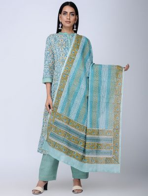 Print Charm - Block Printed - Green -Cotton Dupatta