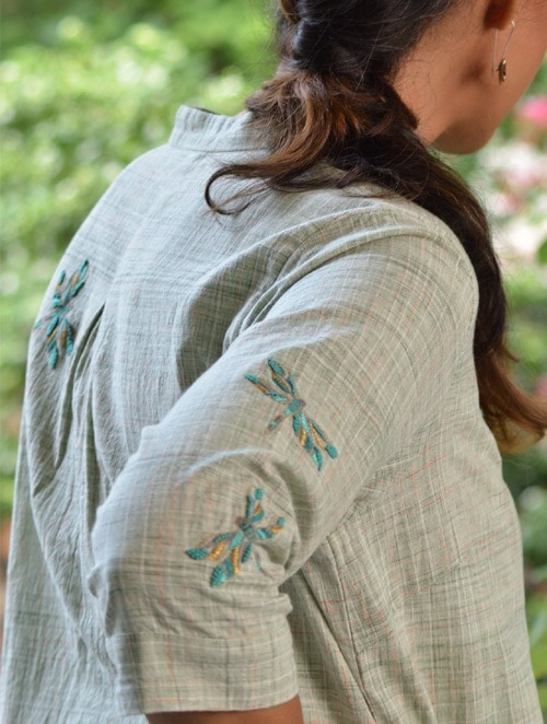 Khadi Dragonfly- Embroidered - Green- Tunic