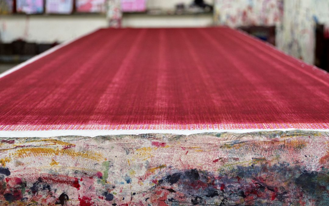 Journey of Achadaâ – the layer fabric used as a cushion block printing table