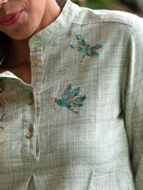 Khadi Dragonfly- Embroidered - Green- Khadi Top