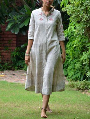 Khadi Dragonfly- Embroidered - Grey- Tunic