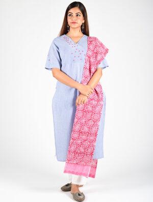 Dharan-Blue-Stripe-Overlap-Kurta