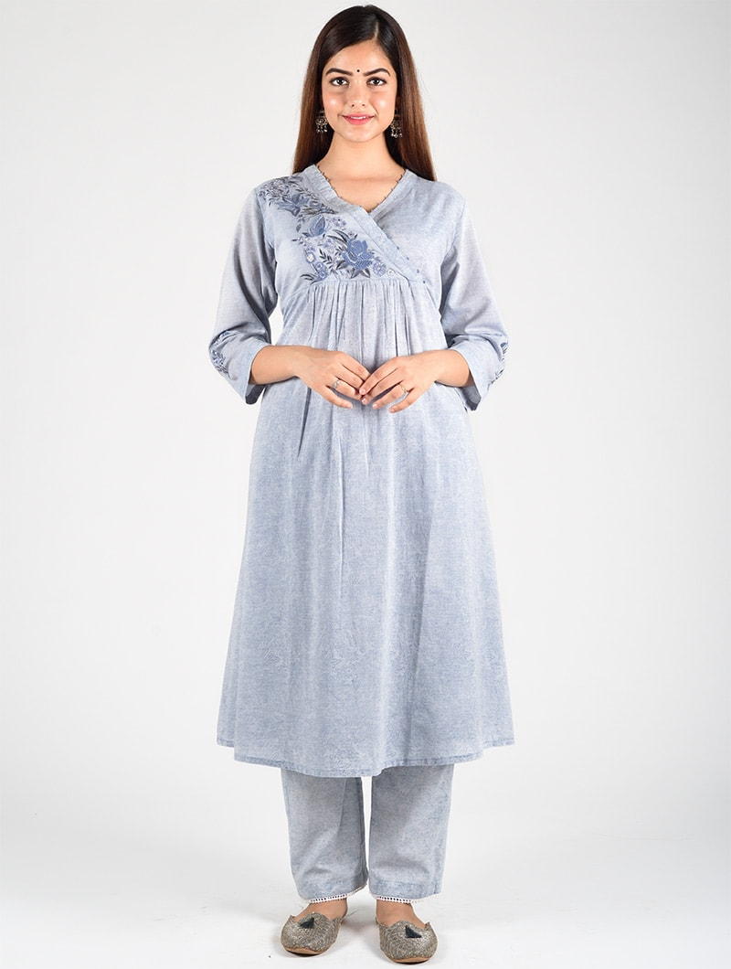 Dharan-Embroidered-Overlap-Kurta-Blue-Front