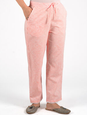 Dharan-Peach-Floral-Printed-Straight-Pants