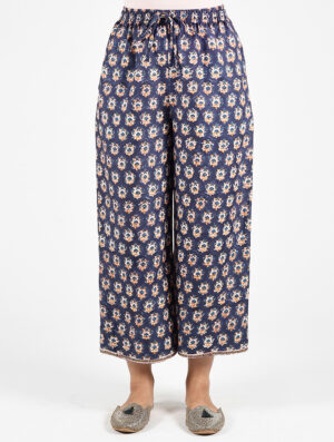 Dharan Printed Straight Pants Blue Front